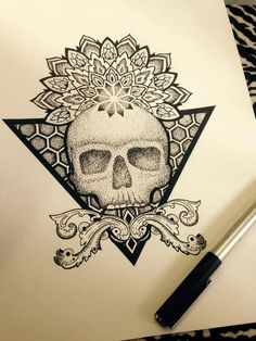 Skull Tattoos, Leg Tattoos, Arm Tattoo, Body Art Tattoos, Sleeve Tattoos, Tattoo Art, Druid Tattoo, Witch Tattoo, Dotwork Tattoo Mandala