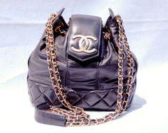 Chanel Black Bucket Drawstring Purse