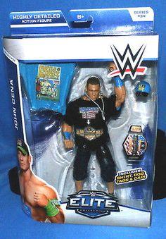 JOHN CENA WWE Mattel Custom Elite Figure, Champ Is Here & Blue Shirt + US Title