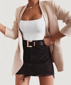 black denim skirt white top pink blazer jacket outfit 24 Must-Have Cute Outfits Date Night Outfits To Wear NOW! Mode Outfits, Fashion Outfits, Womens Fashion, Fashion Ideas, Female Fashion, Fashion Clothes, Korean Fashion, Fashion Belts, Blazer Fashion