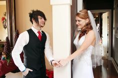 Looking at each other through the wall before the wedding. :)