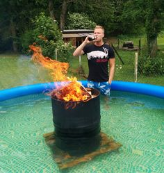 That's One Way To Heat Up The Water In The Pool... I don't know if this is genius or ridiculous