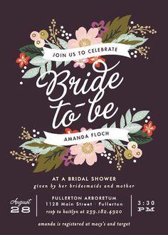 """""""Banner Names"""" - Floral & Botanical, Vintage Bridal Shower Invitations in…"""