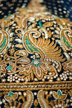 RIJA - dedicated to bringing you the best embroidery the world has to offer. Like this gorgeous zardozi embroidery. Tambour Beading, Tambour Embroidery, Indian Embroidery, Gold Embroidery, Embroidery Patterns, Zardozi Embroidery, Paisley Embroidery, Crazy Quilting, Textile Design