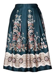 Lingswallow Womens Retro Floral Pleated Midi High Waisted Bubble Skirts M Green * See this great product.(This is an Amazon affiliate link and I receive a commission for the sales)