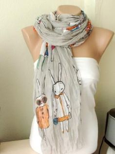 Five Bunnies are Shopping Gray Cotton Long Scarf with wrinkle | moonfairy - Accessories on ArtFire
