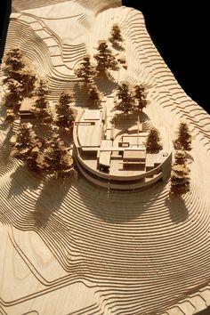 laser cut. architecture model Tom de marrom interessante para árvores, contrastando com madeira clara.