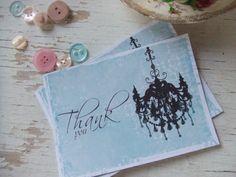 Thank you notecards - aqua notecards - blank notecards - embellishements