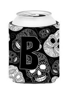 Letter B Day of the Dead Skulls Black Can or Bottle Hugger CJ2008-BCC