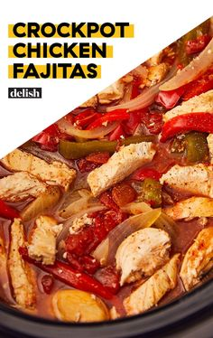 Crockpot Chicken Fajitas Mean ZERO Effort Delish-Use a a stir fry without cheese and sour cream for paleo. Crock Pot Recipes, Crock Pot Cooking, Easy Cooking, Slow Cooker Recipes, Cooking Recipes, Crockpot Meals, Crockpot Dishes, Keto Recipes, Chicken Fajita Recipe