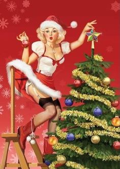 Vintage Christmas pin up greeting Retro Christmas, Vintage Christmas Cards, Vintage Holiday, Christmas Art, Christmas Photos, Christmas Girls, Pin Up Vintage, Retro Vintage, Pin Up Illustration
