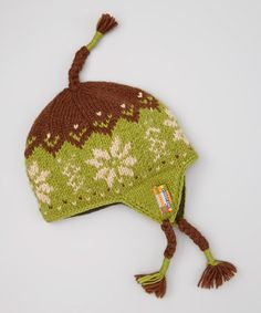 Look what I found on #zulily! Green Snowflake Earflap Beanie by Everest Designs #zulilyfinds