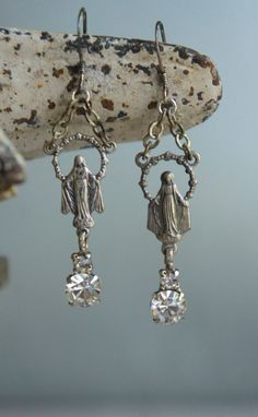 Vintage assemblage earrings Mary rosary centers and vintage rhinestones by frenchfeatherdesigns