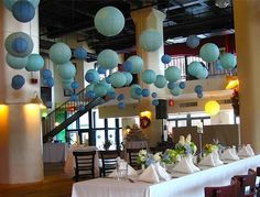 48 Paper Lanterns in Blue    Wedding Party Nursery  by sisters520, $98.00