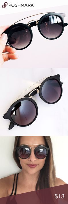 Black Brow Bar Sunglasses Brand new! Also available in shiny black - photo coming soon. Lightweight plastic fashion sunglasses with gold metal brow bar detail. UV 400 protection.  ❌No trades ❌Poshmark Transactions Only ❌No asking for the lowest price Accessories Sunglasses