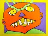 1st grade Monsters - symmetrical collage with black marker outline....Little ominous looking???
