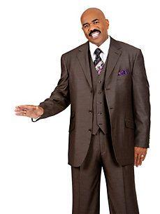 Brown pinstripe suit - Steve Harvey suits for men. Big Mens Suits, Mens Tux, Mens Fashion Suits, Men's Fashion, Sharp Dressed Man, Well Dressed Men, Steve Harvey Suits, Brown Suits, Pinstripe Suit