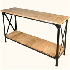 Industrial Double X Iron & Tropical Hardwood Console Table