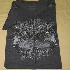 Hard Rock CAFE V Neck  T Shirt Sz M Medium - Gray - HONOLULU Hawaii #HardRockCaf #GraphicTee