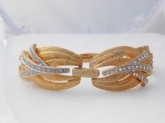 Multi Chain Bracelet With Clear Rhinestones by Libbysmomsvintage