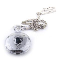 Silber Blume gemusterte Taschenuhr