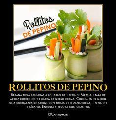 #Comida #Rollitos de #Pepino Rebana tiras delgadas a lo largo de 1 pepino. Mezcla 1 taza de #Arroz cocido con 1 barra de #QuesoCrema. Coloca en el medio una cucharada de arroz, con tiritas de 2 #Zanahorias, 1 pepino y 1 #Rábano. Enrolla y decora con #Cilantro.  @candidman