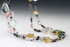 Long Necklace with Quartz, Citrine, Prasiolite, and Pearls