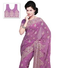 Onion Pink Faux Chiffon Saree with Blouse Online Shopping: SRH186