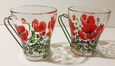Hand Painted Poppy and Forget Me Not Flower Mugs (set of 2). via Etsy