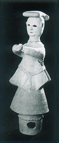 The Kofun period (AD.250?AD.592) art,Haniwa terracotta clay figure.   Medium.  Kyoto Japan.
