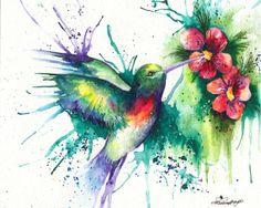 Original Hummingbird Painting  Giclee Print by CardamomsArt, $20.60