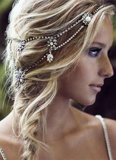 vintage boho style crystal and pearl halo wedding headpieces for low braid hairstyles