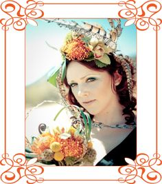 Love the headdress and matching bouquet!