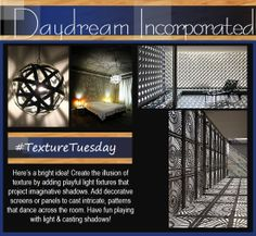 We are shedding some light on today's Texture Tuesday. Its all about contrasting light and shadow and how to create the illusion of texture. #Texturetuesday #interiordesign #light #shadows #design #lightfixtures #wallpanels #residential #commericalspaces www.daydreamincorporated.com