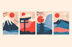 Minimalist japanese cover collection Fre... | Free Vector #Freepik #freevector #abstract #cover #template #retro Aesthetic Japan, Japanese Aesthetic, Japanese Drawings, Japanese Art, Mountain Drawing Simple, Art Minimaliste, Monte Fuji, Japanese Castle, Art Japonais