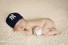 Baby Yankees Cap Hat Knitted / Crochet by GoldenGirlzHandmade