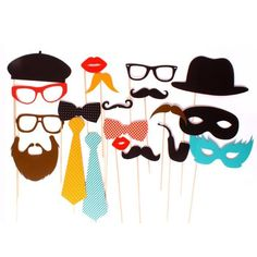 Perfect for your next party!  Pass these out and watch everyone have fun mugging for the camera.  Set of 20 props including mustaches, glasses, ties, hats, masks...