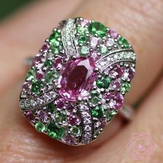 I am just in love. I wish I could wear it everyday Love this ring in pink sapphire, emerald and diamonds by - credit . Pink Diamond Ring, Blue Sapphire Rings, Pink Sapphire, Pink Diamonds, I Love Jewelry, Fine Jewelry, Jewelry Design, Jewelry Accessories, Red Jewelry