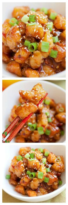 Orange Chicken - Takes 20 minutes and tastes MUCH better and healthier than your regular Chinese takeout. Make it tonight! Orange Chicken - Takes 20 minutes and tastes MUCH better and healthier than your regular Chinese takeout. Make it tonight! I Love Food, Good Food, Yummy Food, Asian Recipes, Healthy Recipes, Chinese Recipes, Chinese Desserts, Asian Cooking, Chicken Recipes