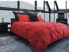 Red Pintuck Duvet Cover Set - modern duvet covers