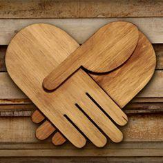 helping hands wood sculpture by Scott Albrecht Wood Sculpture, Sculptures, Jar Of Hearts, Diy Wood Projects, Pallet Crafts, Graphic Design Inspiration, Wood Art, Metallica, Cool Designs