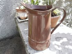Antique french enamelware BODY Pitcher / WATER JUG BROWN