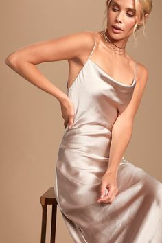 The Lulus Dream Crush Pale Pink Satin Cowl Neck Slip Dress is effortlessly enticing! Satin slip dress with adjustable straps, a cowl neck, and midi skirt. Pink Satin Dress, White Silk Dress, Satin Dresses, Midi Dresses, Midi Skirt, Prom Dresses, Dance Dresses, Cute Dresses, Slip Wedding Dress