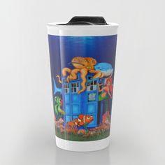 Blue phone Box Under the sea Travel Mugs #travelmugs #tardis #doctorwho #bluephonebox #phonebooth #sea #sketch #art