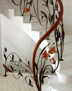 Escaleras Artesnia En Fierro En 2019 Stairs Staircase Design Y Wrought Iron Stair Railing, Stair Railing Design, Staircase Railings, Stairways, Railing Ideas, Banisters, Wrought Iron Doors, Grand Staircase, Rustic Stairs