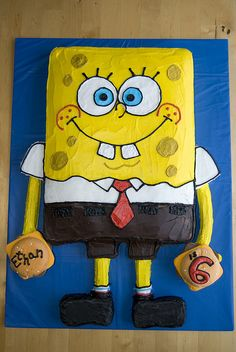 spongebob cake - cute love the crabby patty w/ name & age.... could also do w/ crabby patty & spatula :)