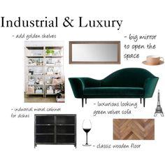 """Untitled #855"" by blonde-fashion-nerd on Polyvore Green Velvet Sofa, Blonde Fashion, Wooden Flooring, Entryway, Nerd, Shelves, Cabinet, Interior Design, Luxury"