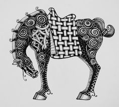 zentangle chinese horse print from fine art america