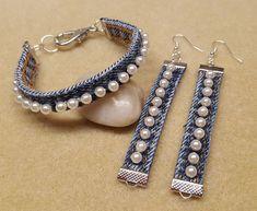 Braided Denim choker Denim necklace Denim jewelry Jeans necklace Denim braided n. Denim Bracelet, Denim Earrings, Beaded Earrings, Women's Earrings, Beaded Jewelry, Beaded Bracelets, Denim Crafts, Homemade Jewelry, Bijoux Diy