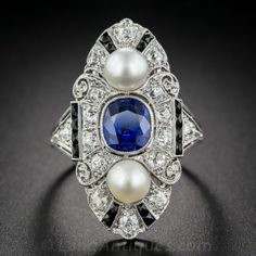 Natural Sapphire, Diamond, Natural Pearl Art Deco Dinner Ring